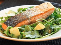 One-Pot Salmon With Arugula and Avocado Salad