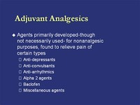 Analgesic Adjuvants