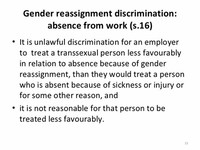 Absence From Work Because of Gender Reassignment