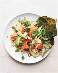 Salmon-Avocado Roll (on Brown Rice) and Seaweed Salad