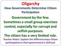 Oligarchy- Rule by a Small Group