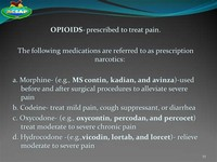 Opioids Used to Treat Pain