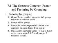 Group #1: Greatest Common Factor