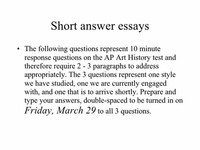 Short Answer/Essay Question