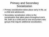 Secondary Socialization