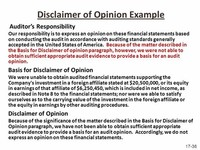 Disclaimer Opinion