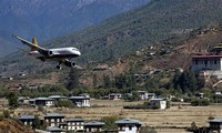 Paro Airport in Bhutan, Himalayan Mountains