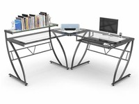 Z-Line Belaire Glass L-Shaped Home Office Desk