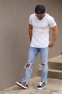 Distressed Jeans, Crisp White Shirt