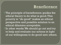 Principle of Beneficence, and