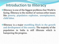 Illiteracy, Poverty, Unemployment and Population Growth