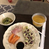 Miso Soup With a Veggie Roll and Sashimi