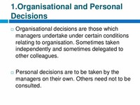 Organisational and Personal Decisions: