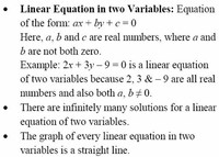 b) The Equation With two Variables: