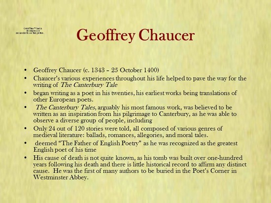 Geoffrey Chaucer By Geoffrey Chaucer. - ppt video online ...