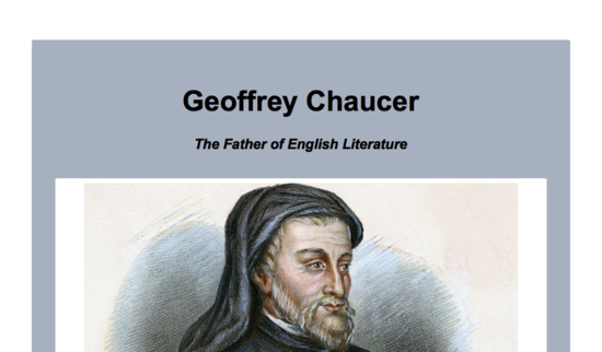 Tribute to Geoffrey Chaucer