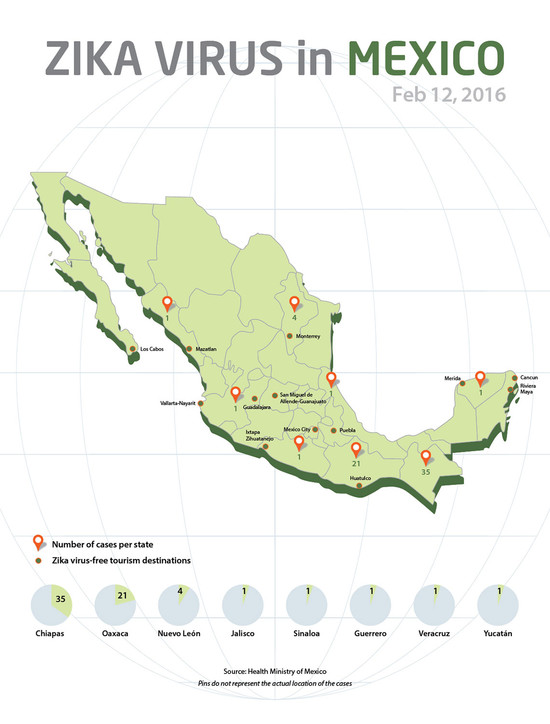 Mexico draws map indicating location of Zika cases: Travel ...