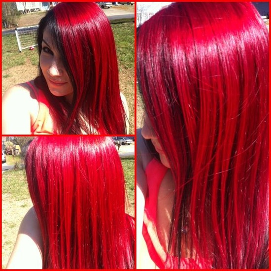 Bright red hair in the sun -- L'oreal hicolor highlights ...
