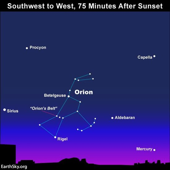 Use Orion's Belt to find Mercury | Sky Archive | EarthSky