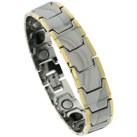 Tungsten Carbide Magnetic Bracelet w/ Gold-tone Edge Bar ...