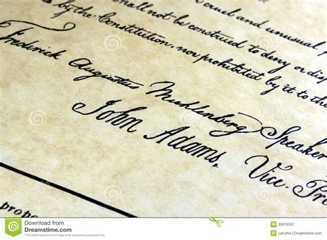 John Adams US constitution stock image. Image of signing ...